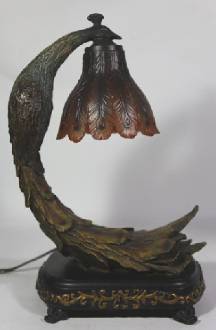 VINTAGE PEACOCK LAMP - 5