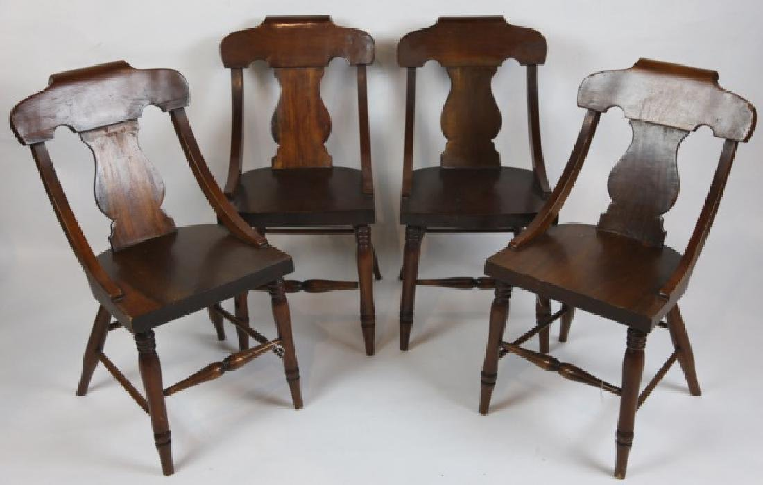 ANTIQUE TURNED LEG CHAIR SET OF FOUR