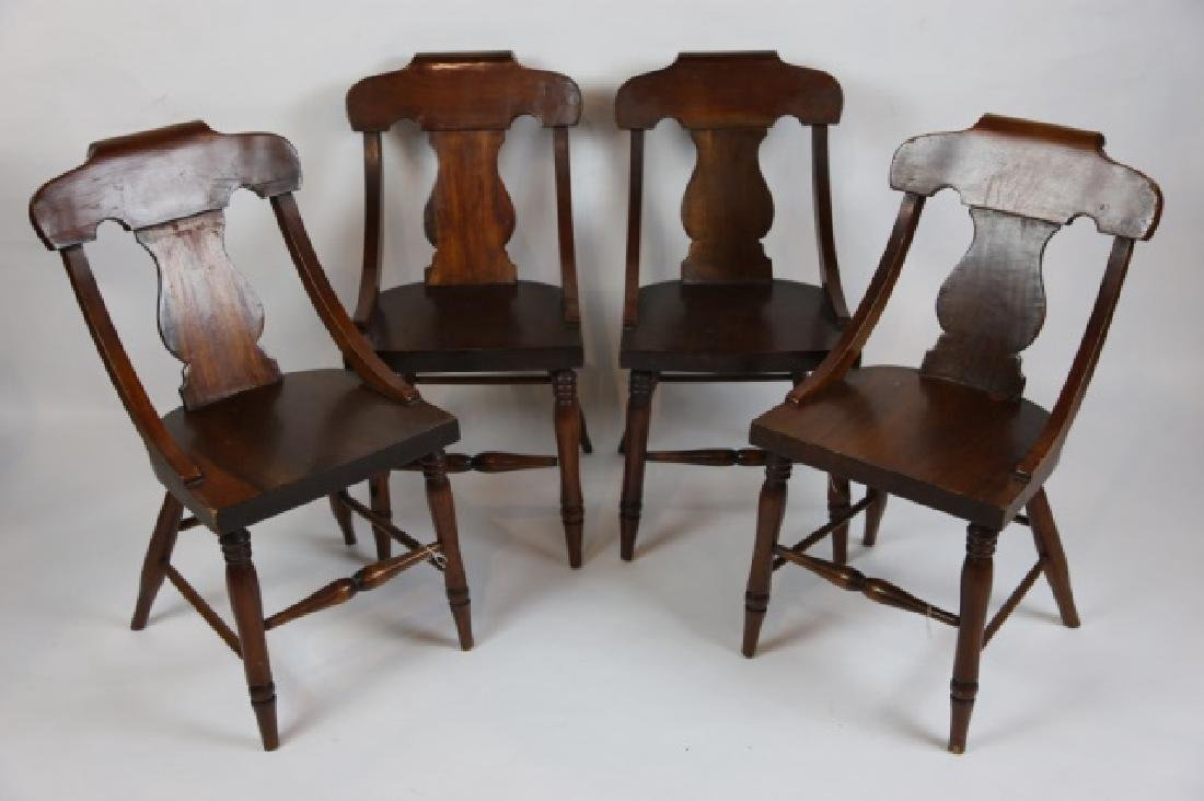 ANTIQUE TURNED LEG CHAIR SET OF FOUR - 2