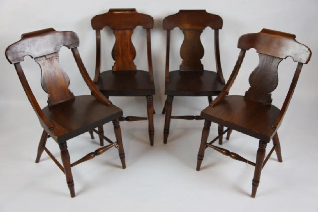 ANTIQUE TURNED LEG CHAIR SET OF FOUR - 4