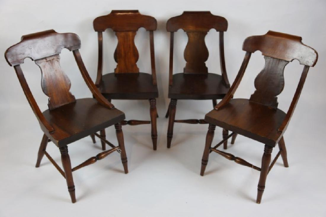 ANTIQUE TURNED LEG CHAIR SET OF FOUR - 5