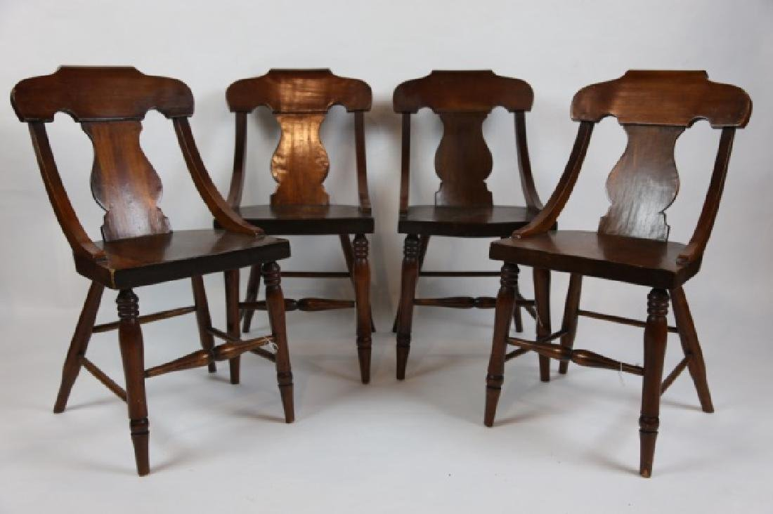 ANTIQUE TURNED LEG CHAIR SET OF FOUR - 9