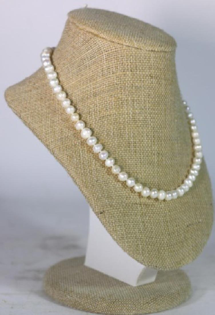 """18"""" FINE STRAND OF HAND  KNOTTED CULTURED PEARLS"""