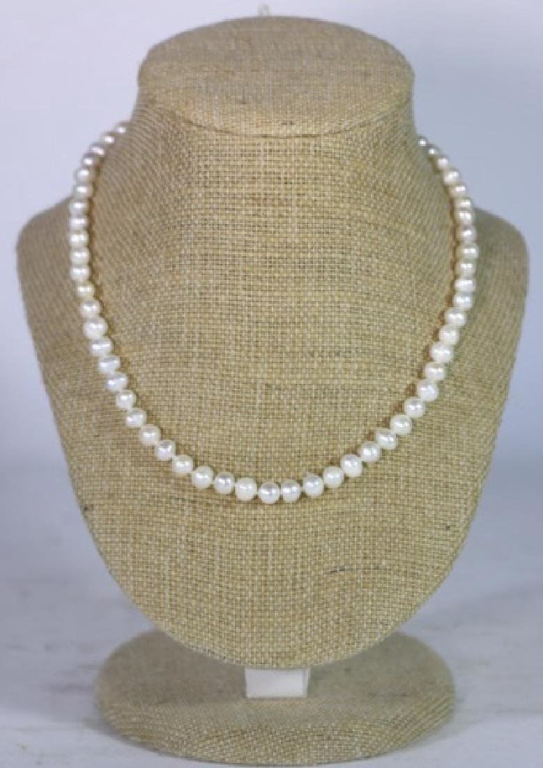 """18"""" FINE STRAND OF HAND  KNOTTED CULTURED PEARLS - 2"""