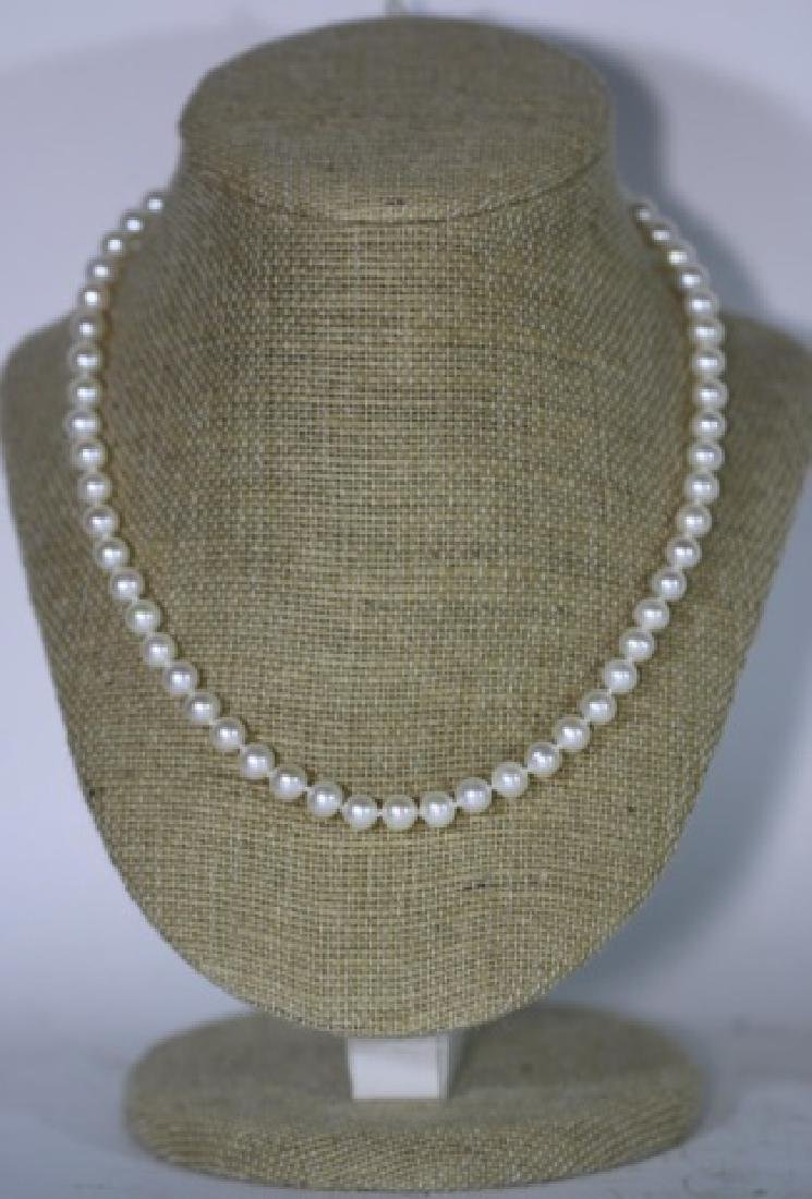 "18"" FINE STRAND OF HAND  KNOTTED CULTURED PEARLS"