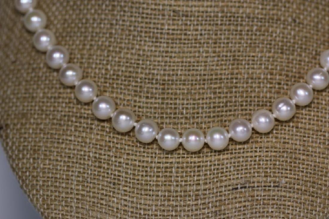"18"" FINE STRAND OF HAND  KNOTTED CULTURED PEARLS - 2"