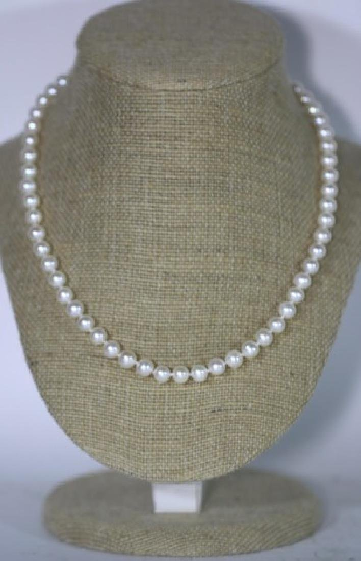"18"" FINE STRAND OF HAND  KNOTTED CULTURED PEARLS - 6"