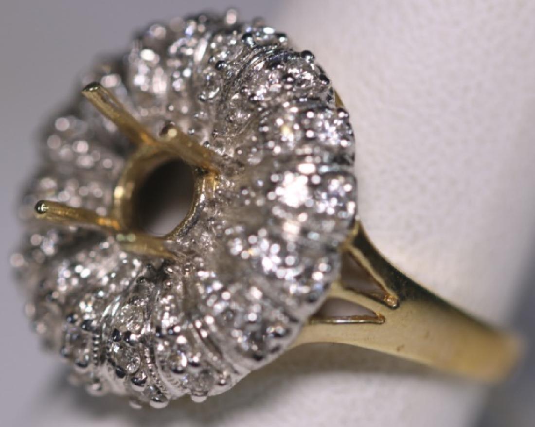 14KYG  PAVE DIAMOND SEMI MOUNT COCKTAIL RING MOUNT
