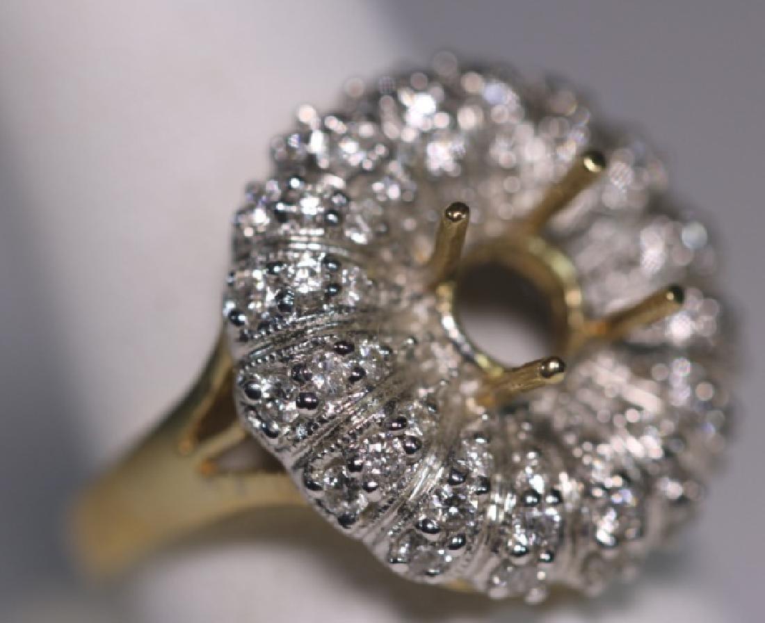 14KYG  PAVE DIAMOND SEMI MOUNT COCKTAIL RING MOUNT - 4