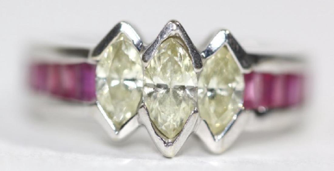 14KYG MARQUISE DIAMOND & RUBY RING
