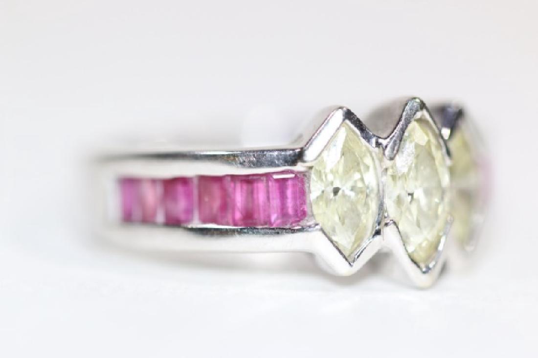 14KYG MARQUISE DIAMOND & RUBY RING - 2