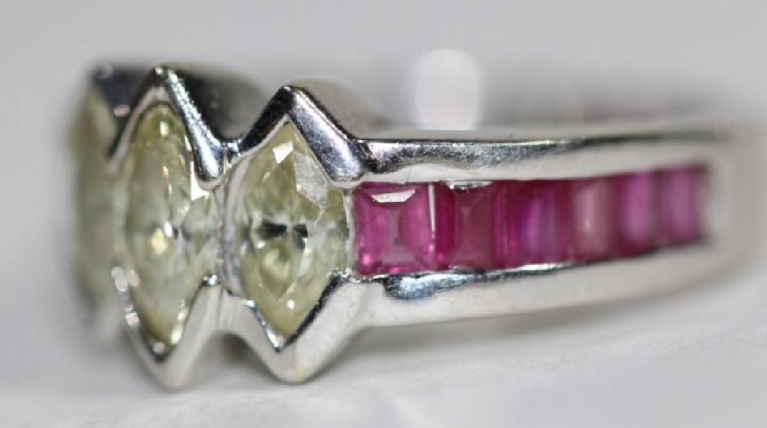 14KYG MARQUISE DIAMOND & RUBY RING - 3
