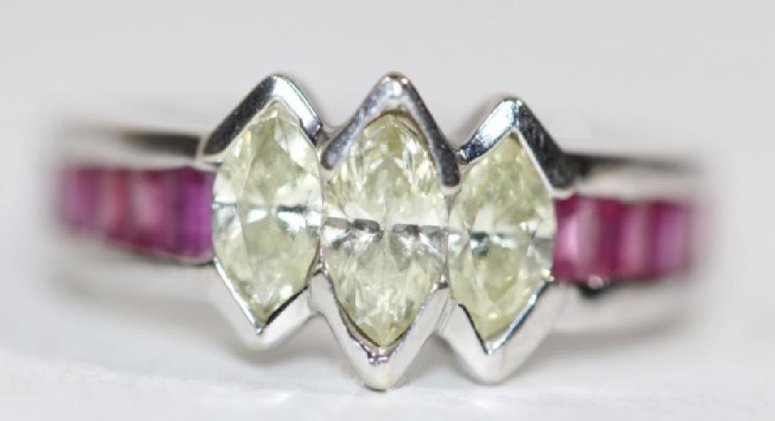 14KYG MARQUISE DIAMOND & RUBY RING - 4