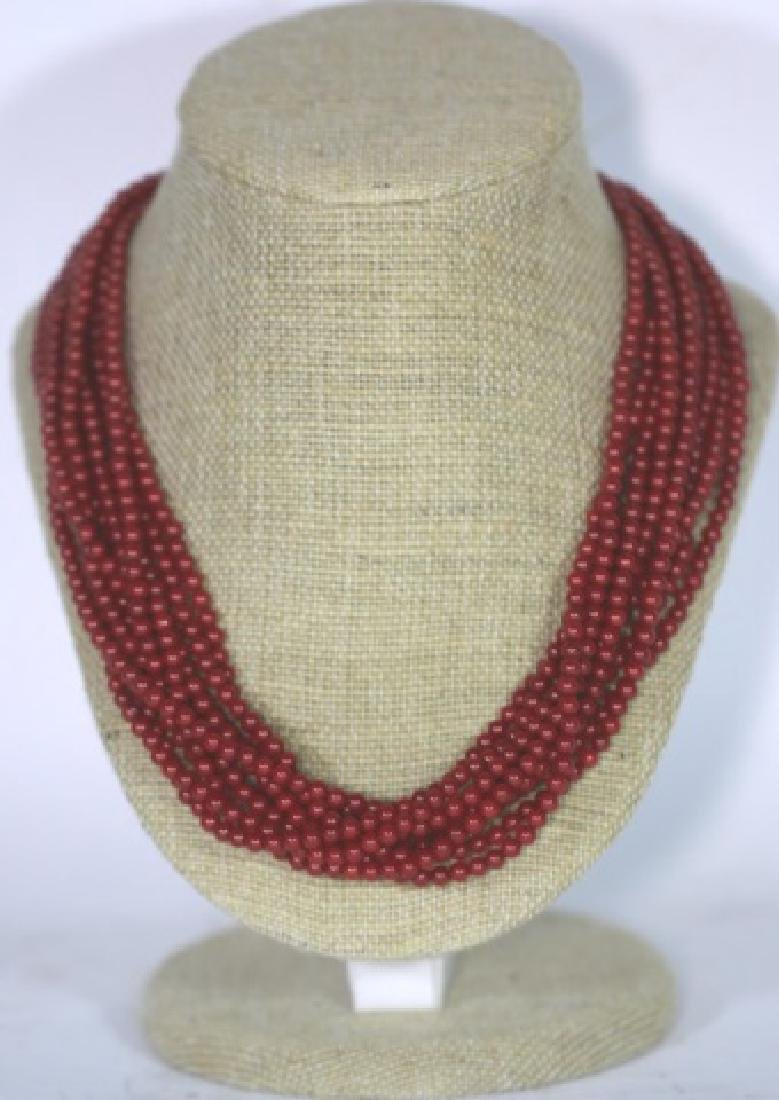 CORAL BEAD MULTI STRAND & STERLING NECKLACE