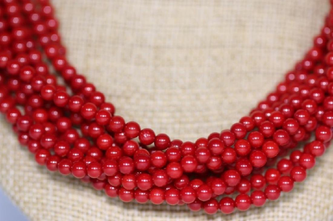 CORAL BEAD MULTI STRAND & STERLING NECKLACE - 2