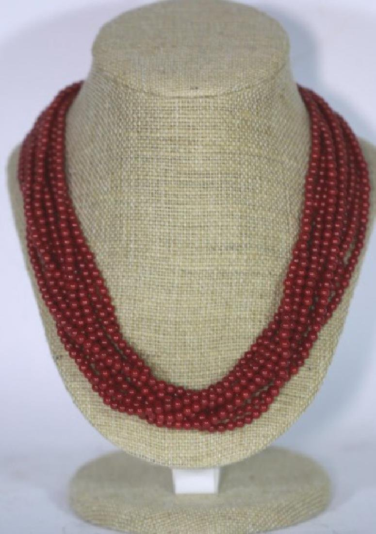 CORAL BEAD MULTI STRAND & STERLING NECKLACE - 5
