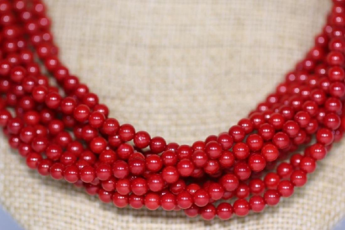 CORAL BEAD MULTI STRAND & STERLING NECKLACE - 6