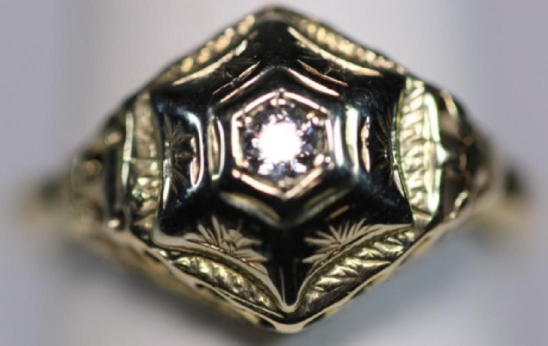 14KYG & DIAMOND DECO STYLE LADIES RING