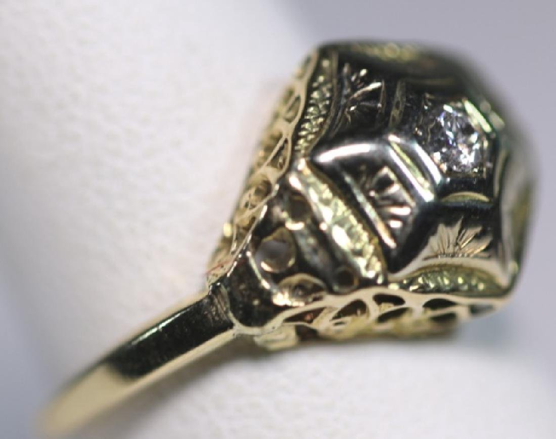 14KYG & DIAMOND DECO STYLE LADIES RING - 2