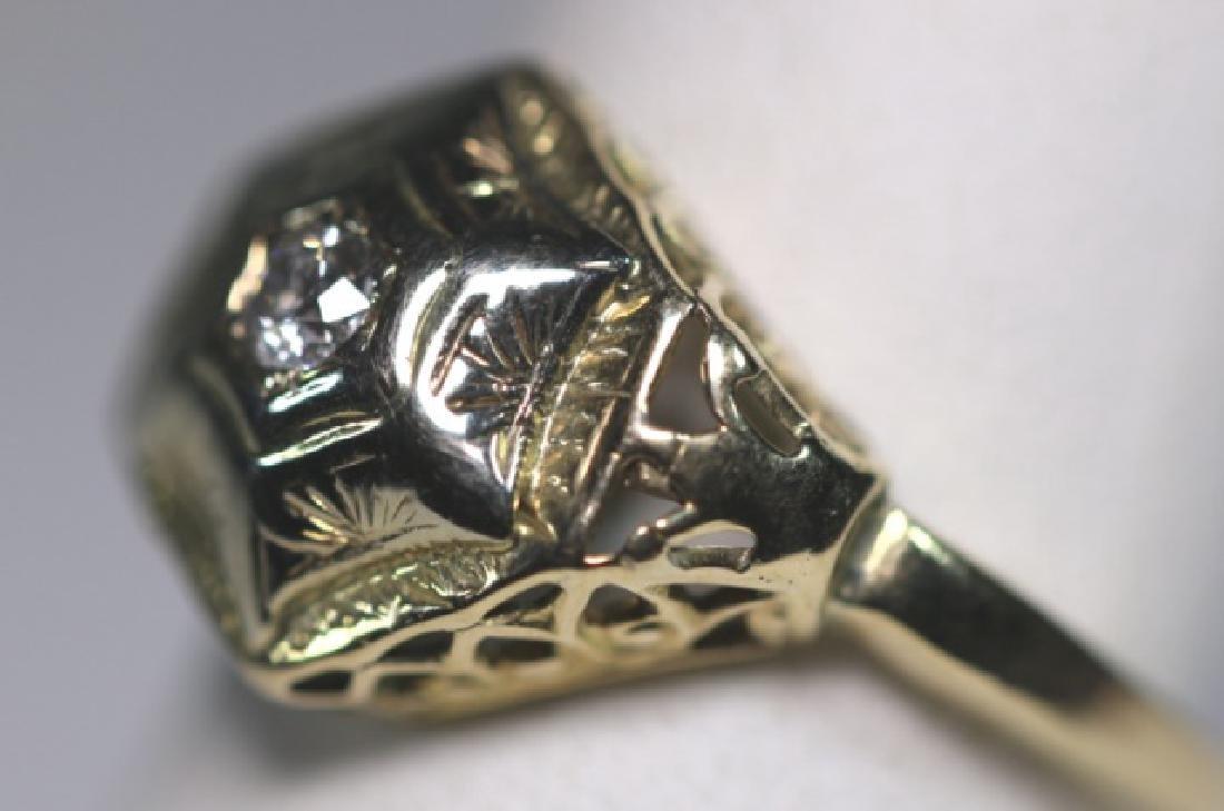14KYG & DIAMOND DECO STYLE LADIES RING - 3