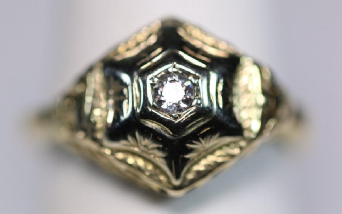 14KYG & DIAMOND DECO STYLE LADIES RING - 5