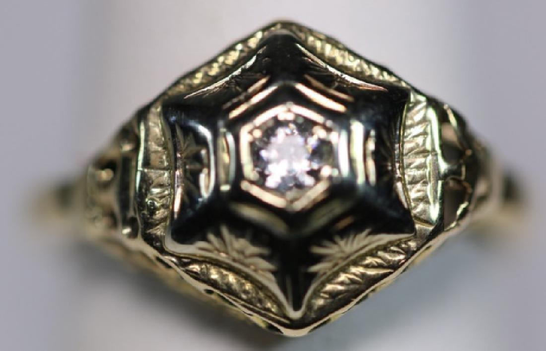 14KYG & DIAMOND DECO STYLE LADIES RING - 6