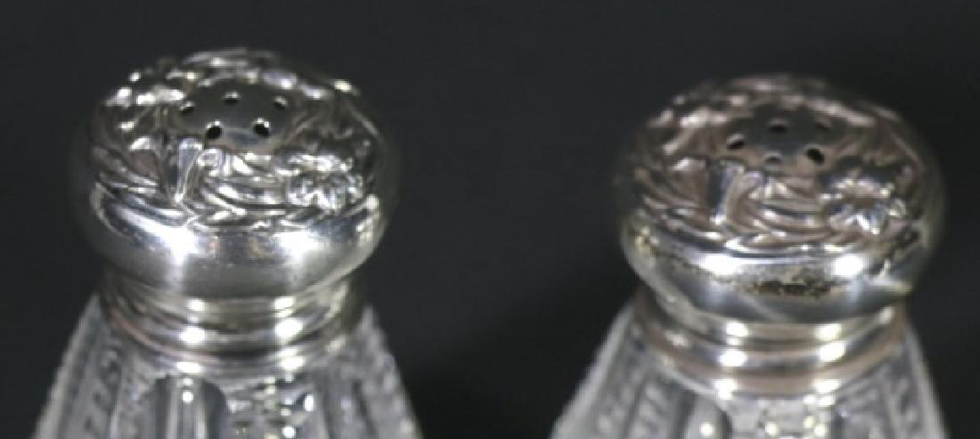 STERLING SILVER & CUT GASS SIGNED SALT PEPPER - 2