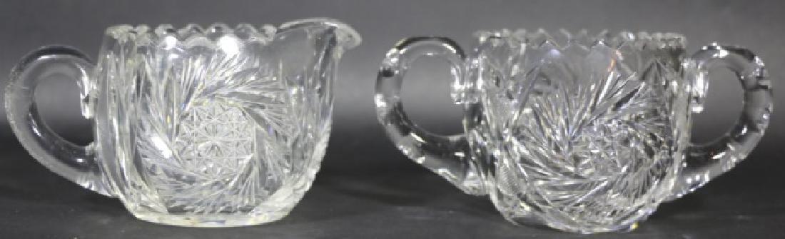 BRILLIANT PERIOD AMERICAN CUT GLASS CREAM & SUGAR