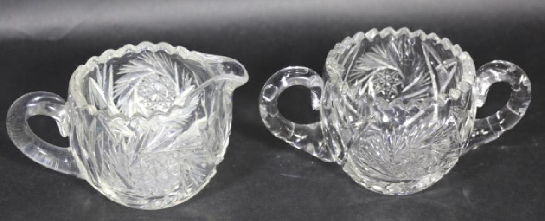BRILLIANT PERIOD AMERICAN CUT GLASS CREAM & SUGAR - 2