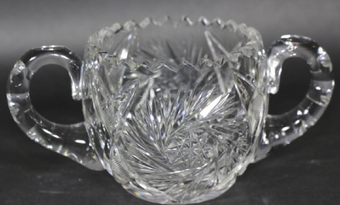 BRILLIANT PERIOD AMERICAN CUT GLASS CREAM & SUGAR - 3