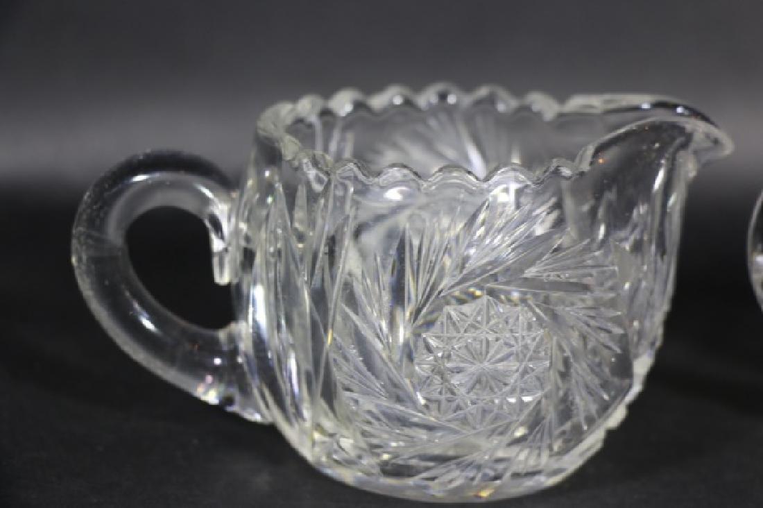 BRILLIANT PERIOD AMERICAN CUT GLASS CREAM & SUGAR - 4