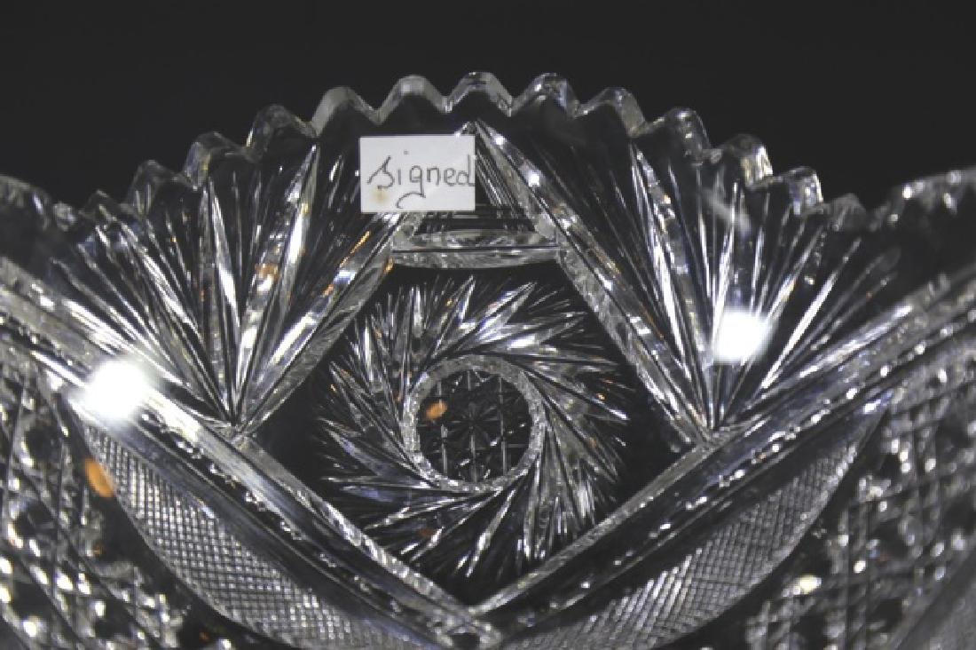 SIGNED BRILLIANT PERIOD CUT GLASS FRUIT BOWL - 6