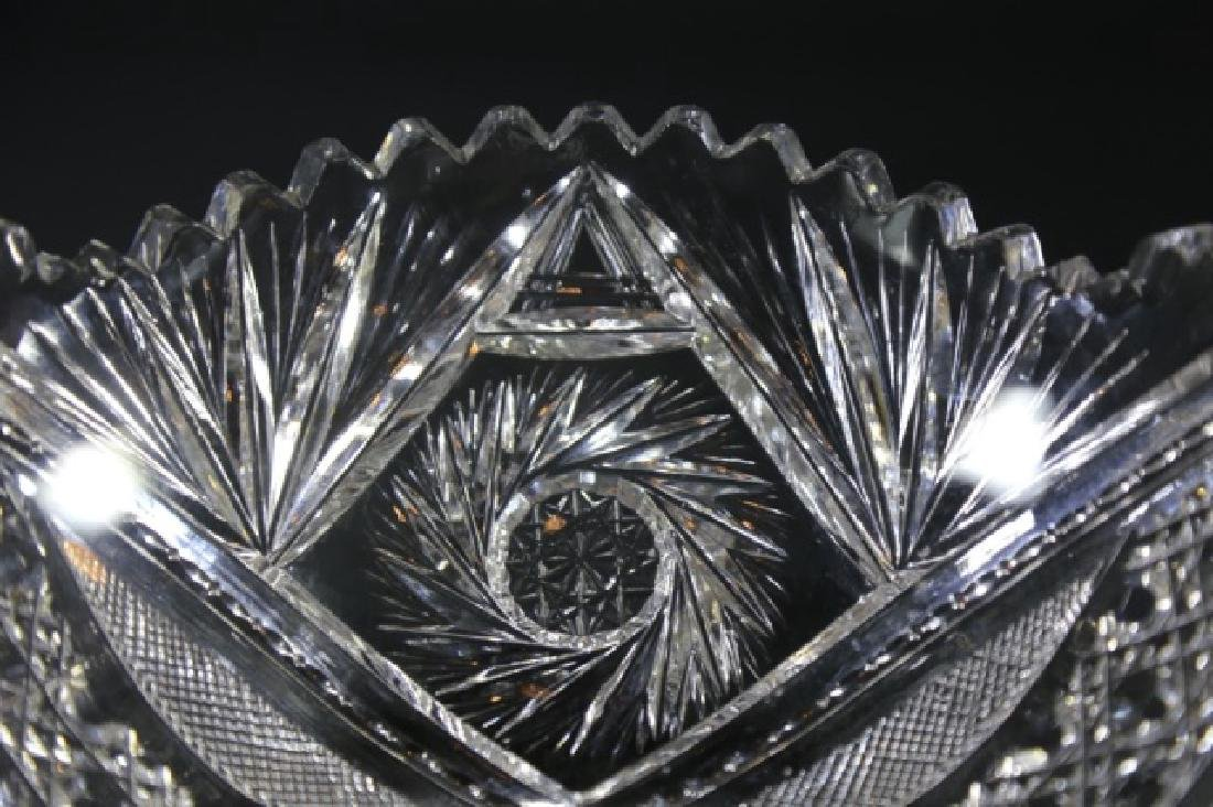SIGNED BRILLIANT PERIOD CUT GLASS FRUIT BOWL - 7