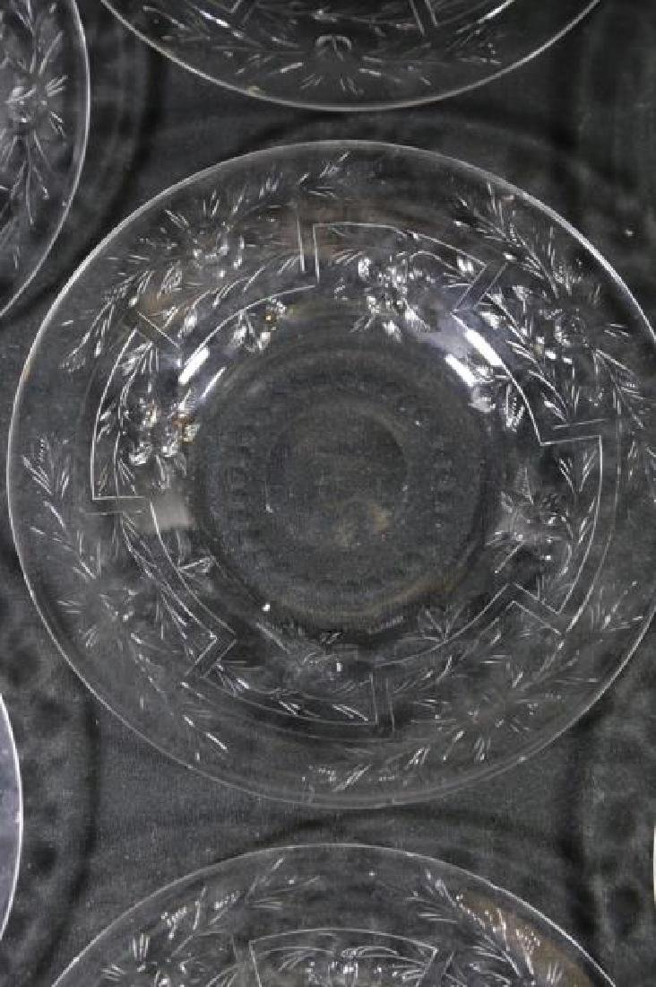 HAWKES SIGNED  FINE CUT GLASS LUNCHEON PLATE GROUP - 4