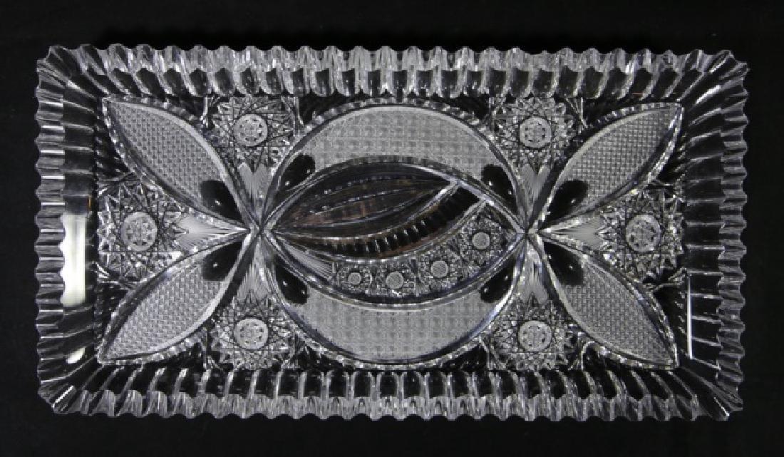 FINE CUT GLASS BRILLIANT CUTWORK DRESSER TRAY