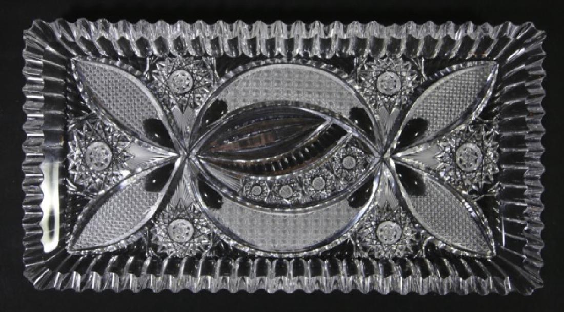 FINE CUT GLASS BRILLIANT CUTWORK DRESSER TRAY - 2