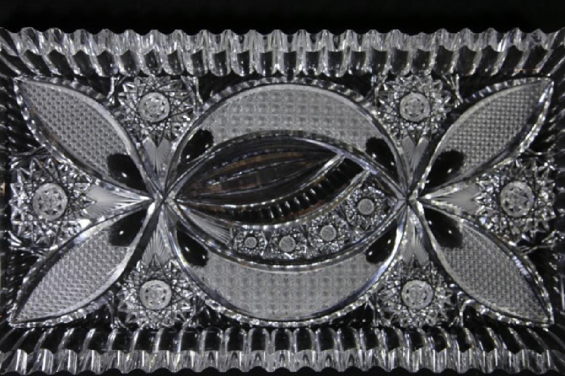 FINE CUT GLASS BRILLIANT CUTWORK DRESSER TRAY - 3