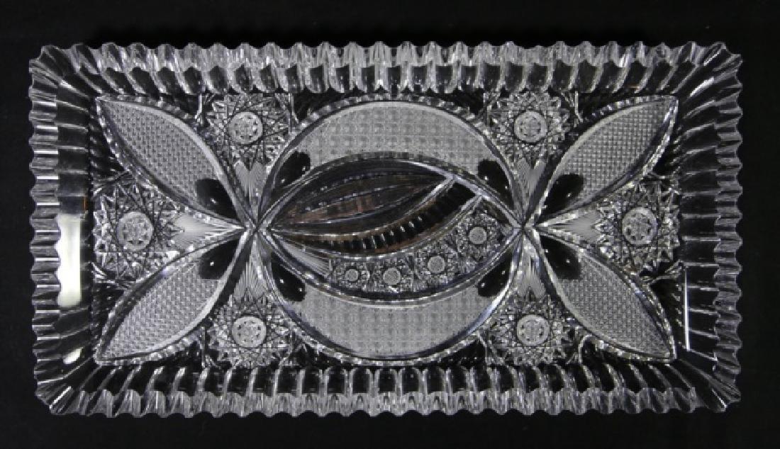 FINE CUT GLASS BRILLIANT CUTWORK DRESSER TRAY - 5