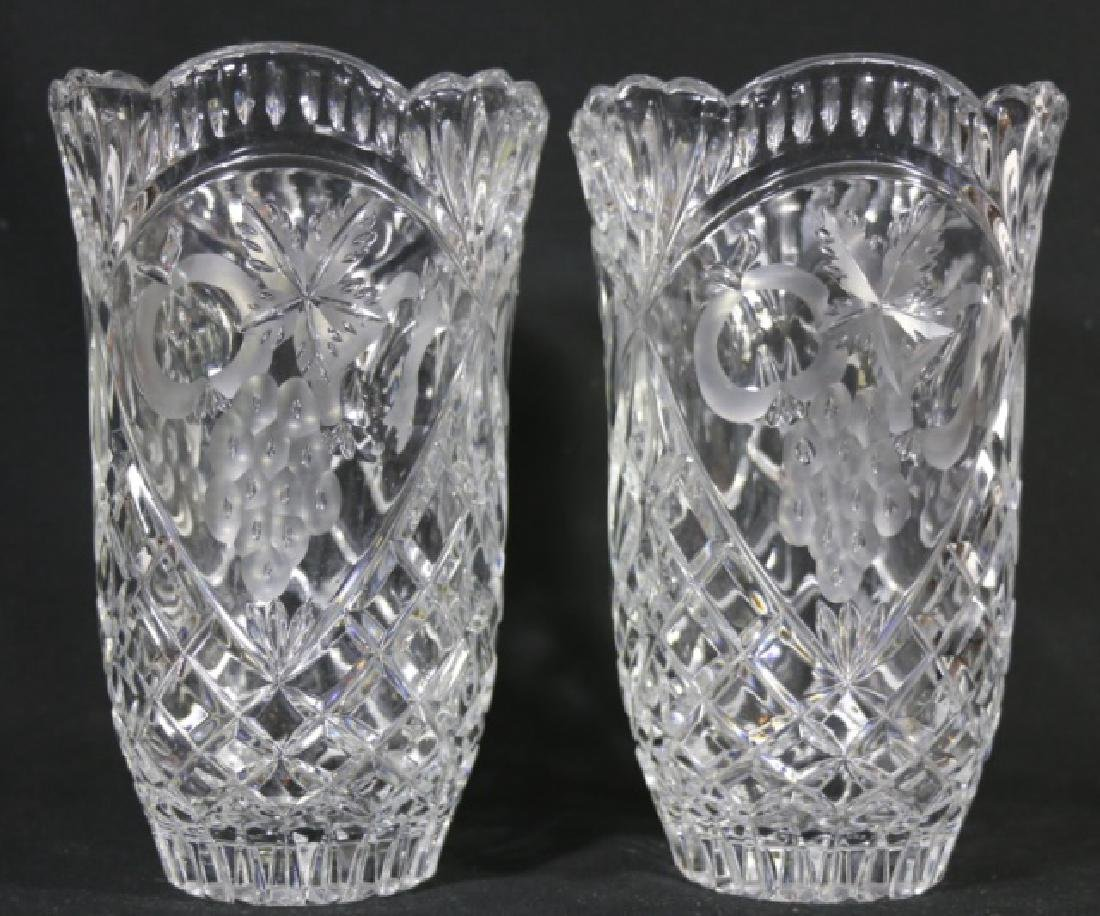 HAND CUT & ETCHED TALL CRYSTAL VASES