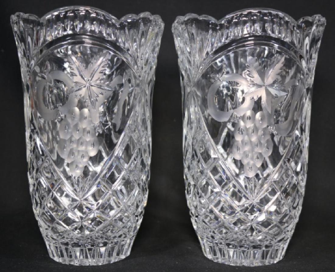 HAND CUT & ETCHED TALL CRYSTAL VASES - 2
