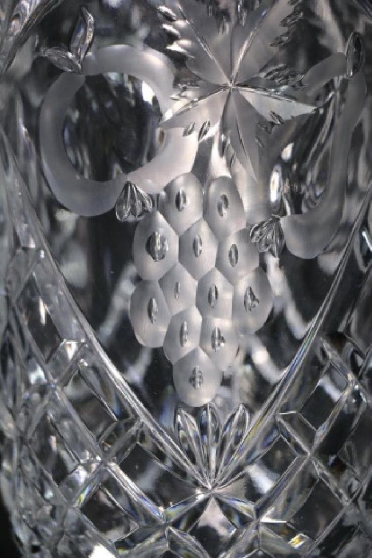HAND CUT & ETCHED TALL CRYSTAL VASES - 4