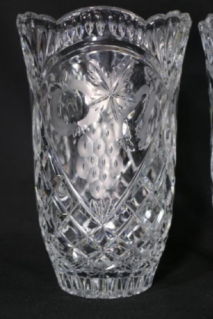 HAND CUT & ETCHED TALL CRYSTAL VASES - 5