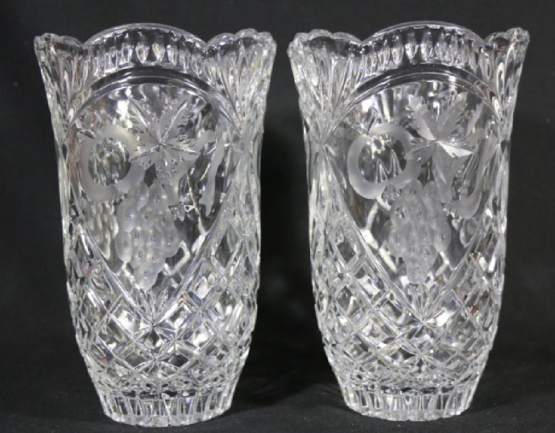 HAND CUT & ETCHED TALL CRYSTAL VASES - 6