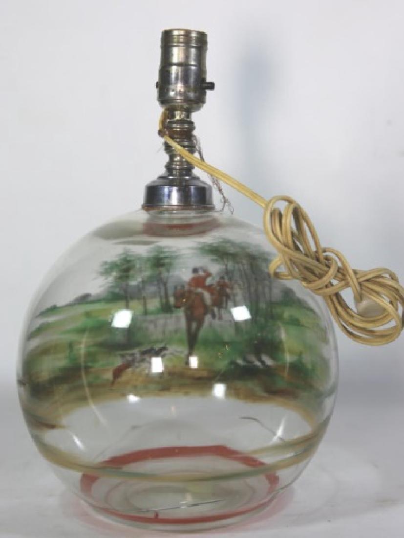 ENGLISH HUNT SCENE ENAMELED ARTGLASS LAMP - 3