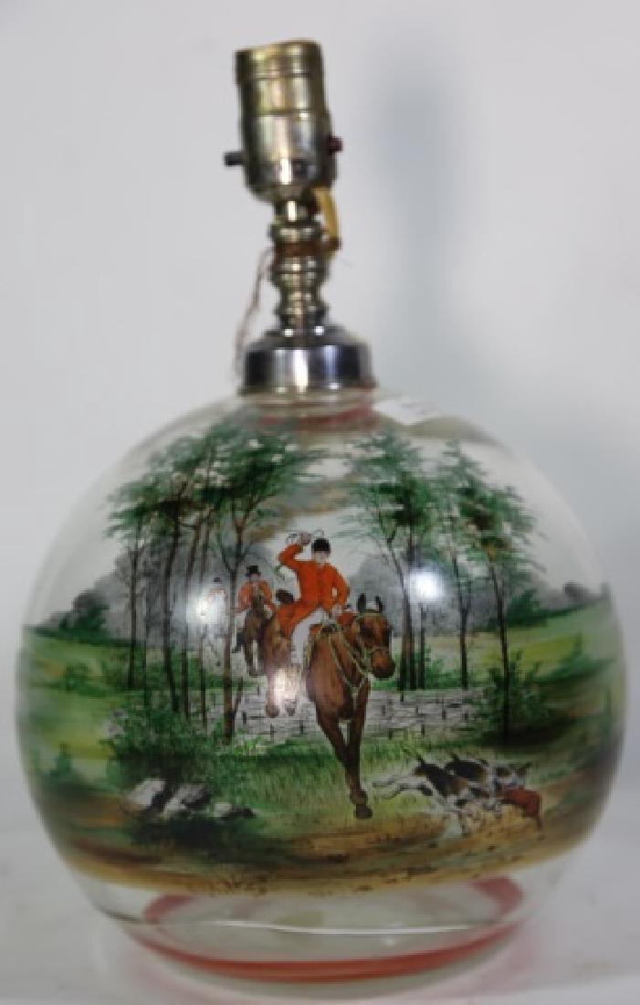 ENGLISH HUNT SCENE ENAMELED ARTGLASS LAMP - 4