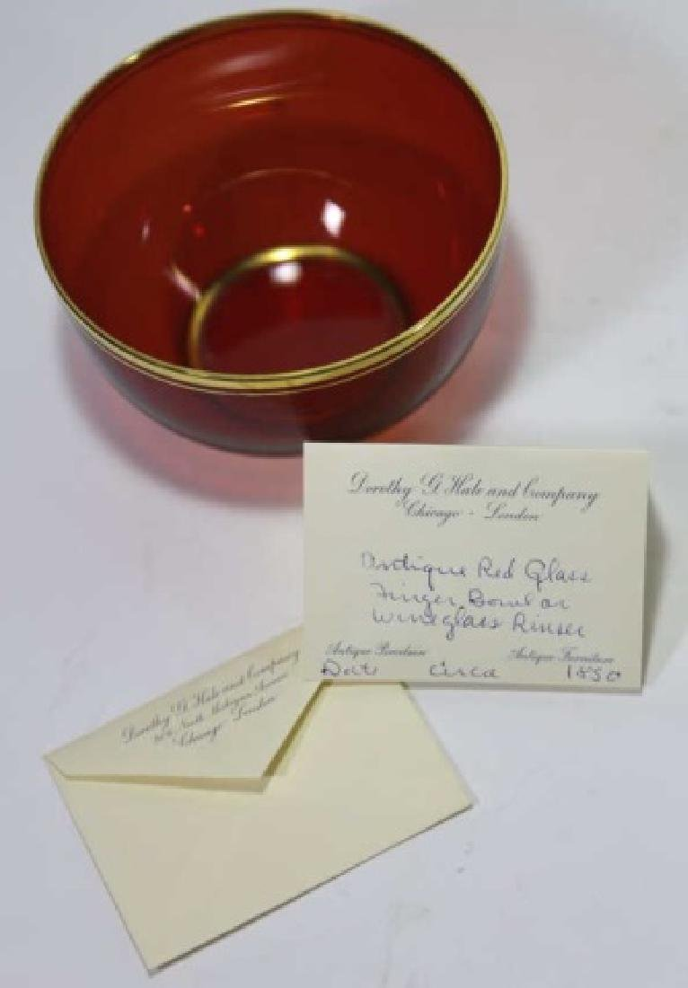 ANTIQUE RED GLASS FINGER BOWL / WINE RINSE