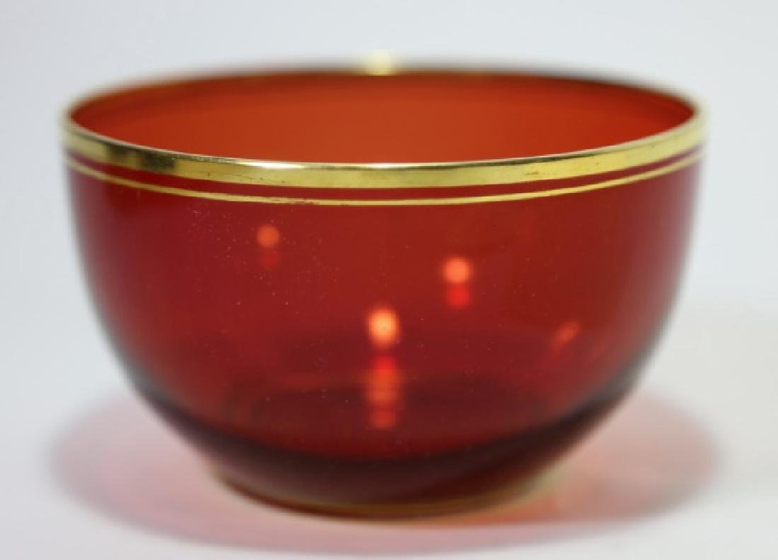 ANTIQUE RED GLASS FINGER BOWL / WINE RINSE - 2