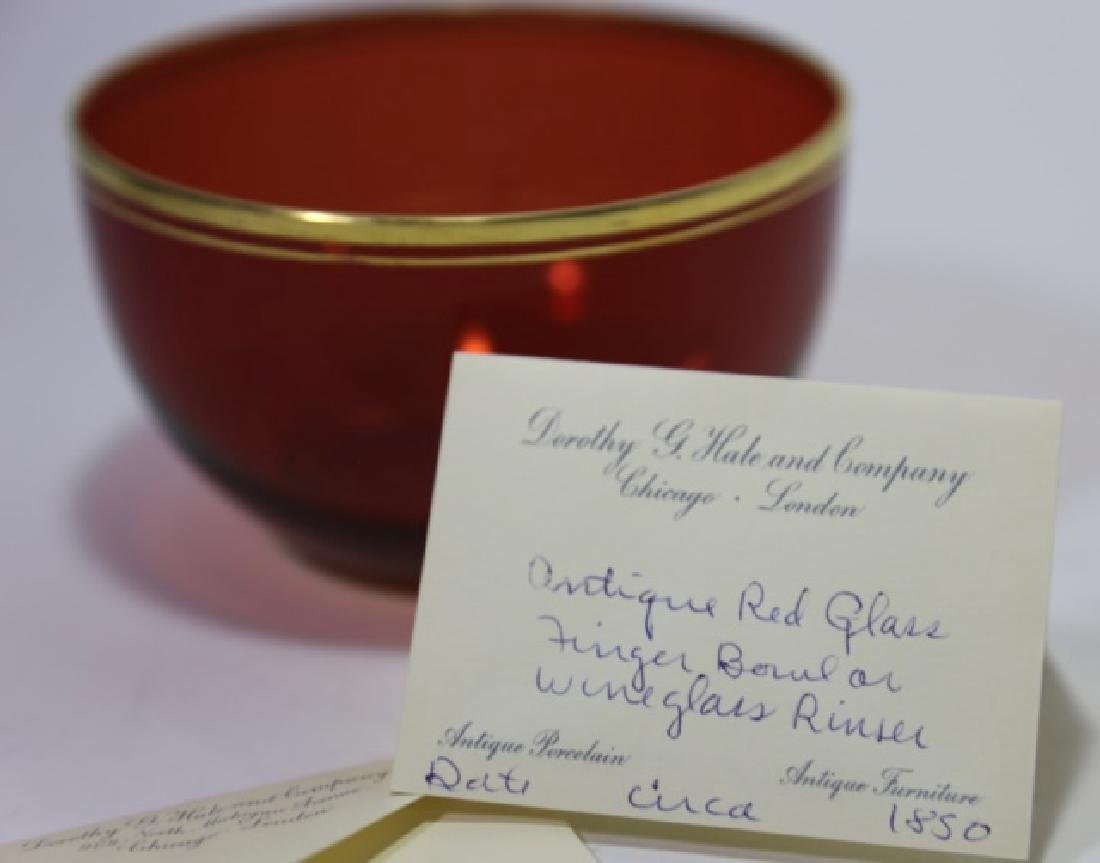 ANTIQUE RED GLASS FINGER BOWL / WINE RINSE - 4