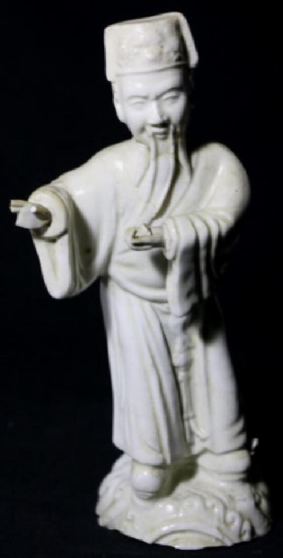 CHINESE ANTIQUE BLANC-DE-CHINE MUSEUM SCHOLARS - 6