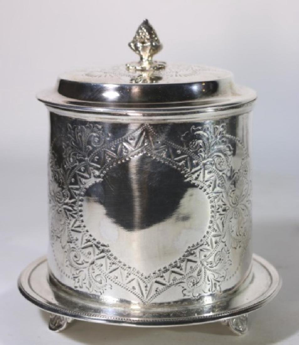 ENGLISH ANTIQUE SILVER BISCUIT BOX